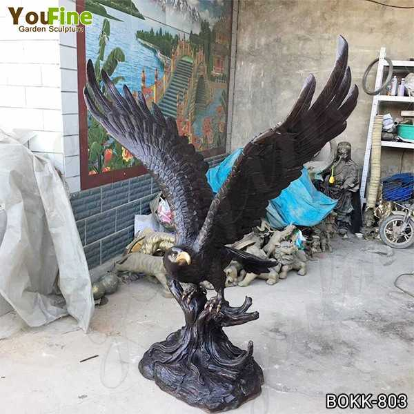 Large Black Metal Bronze Eagle Statue for Garden Decor Supplier BOKK-803