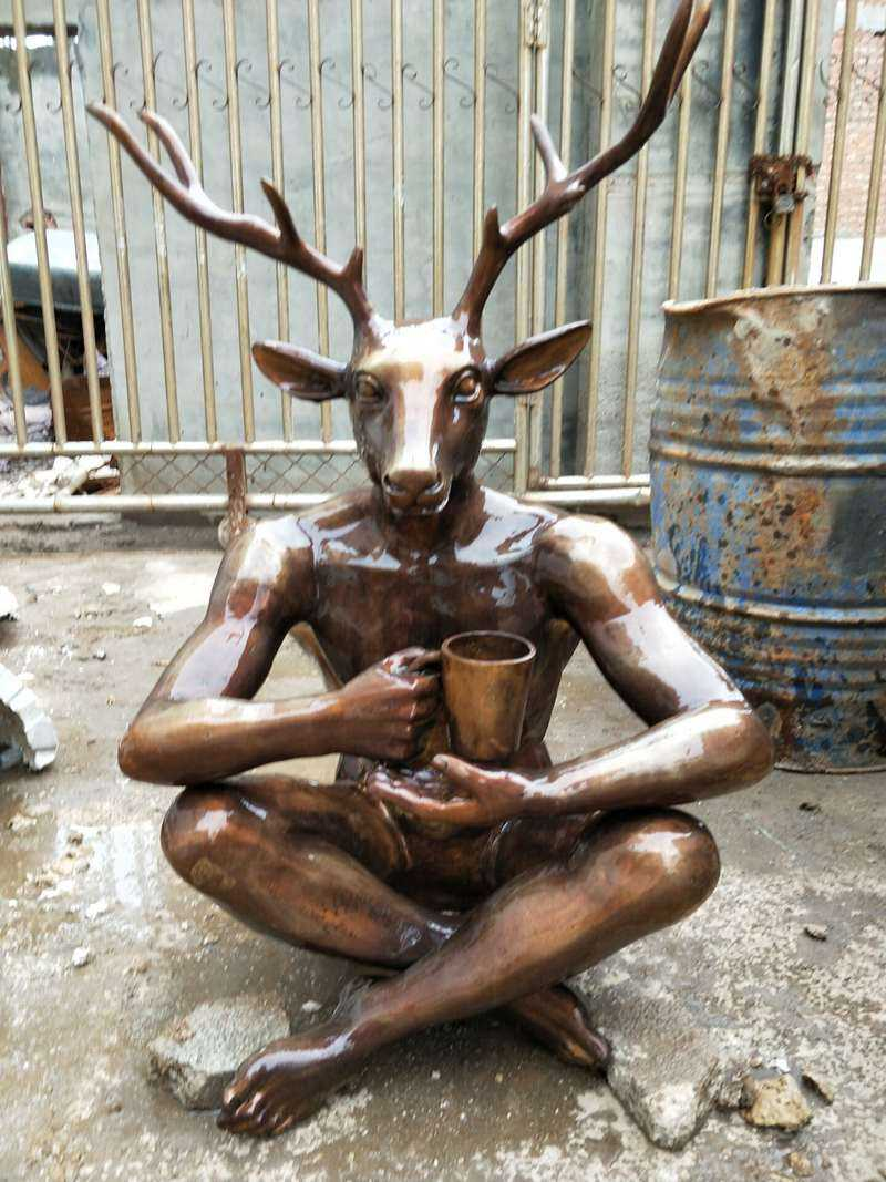 Bronze Mr. Deer Sculpture for Our Customer