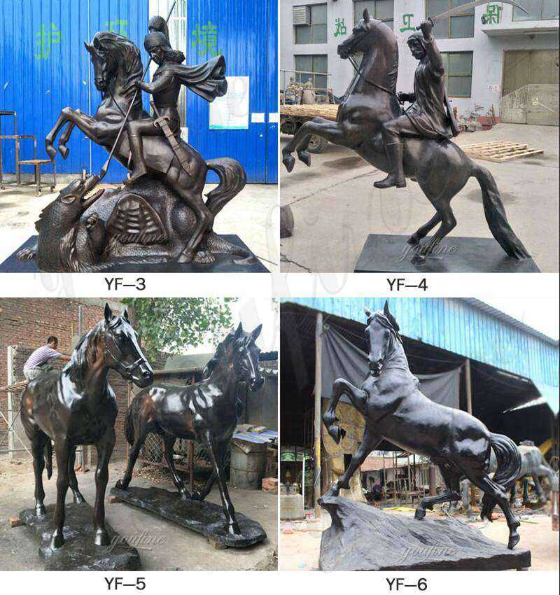 Bronze Polo Player and Horse Statue