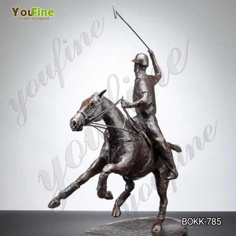 Bronze Polo Player and Horse Statue for Sale