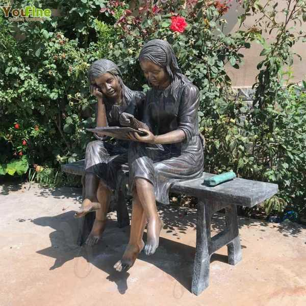 Bronze Sisters Reading Sculpture for Sale