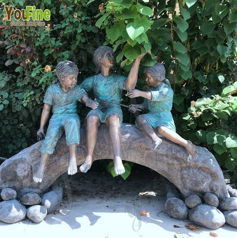 Bronze Statue of Children on Log with Butterflies for Sale BOKK-787