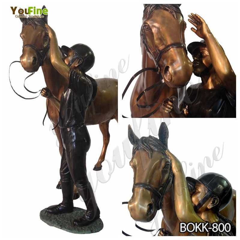 Buy Antique Bronze Horse and Knight Statue for Garden Decor