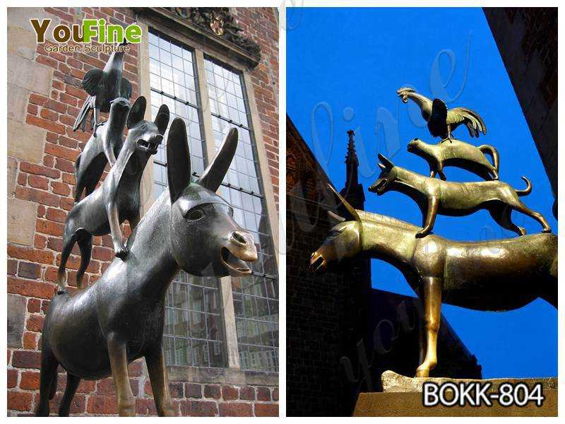 Casting Bronze Bremen Town Musicians Statue for Sale