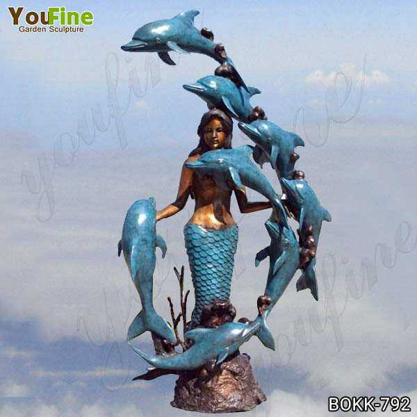 Casting Bronze Mermaid with Dolphins Fountain Supplier BOKK-792