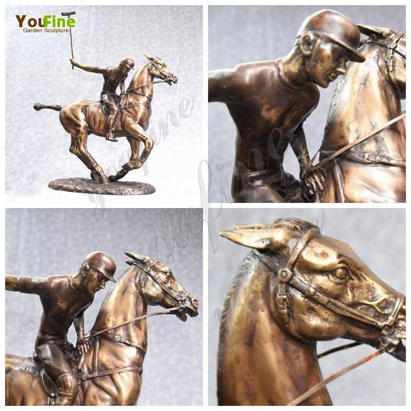 Casting Bronze Polo Player and Horse Statue
