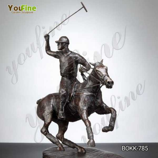 Casting Life Size Bronze Polo Statue on Horse for Sale