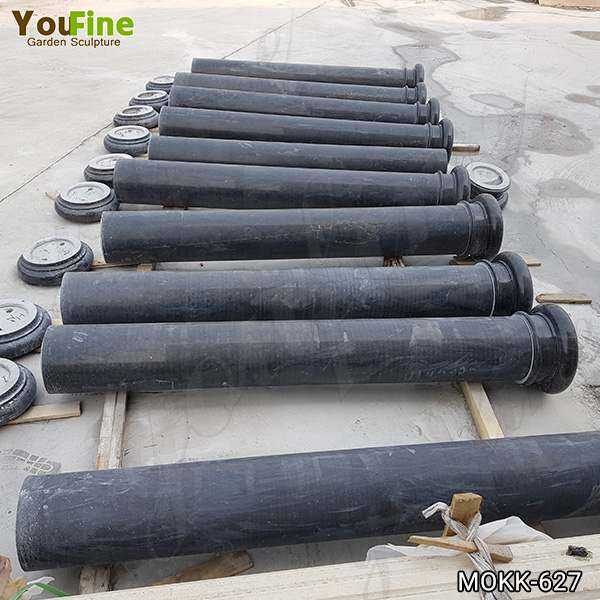Large Charcoal Solid Marble Column Pedestal Supplier MOKK-627