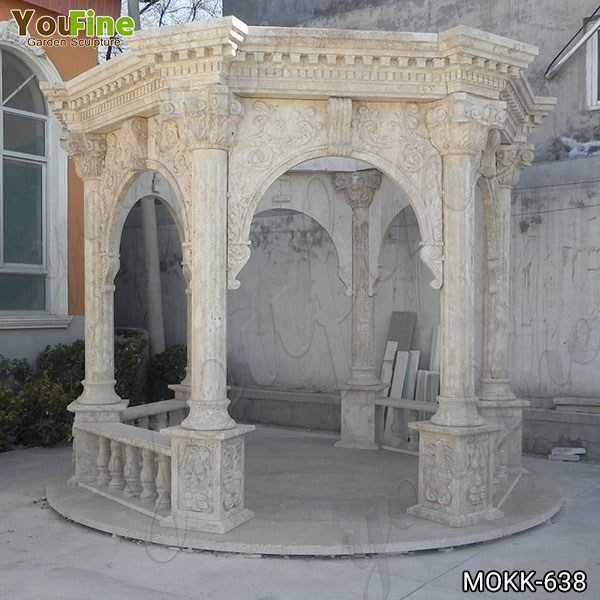 Classic Roman Style Beige Marble Column Gazebo Supplier