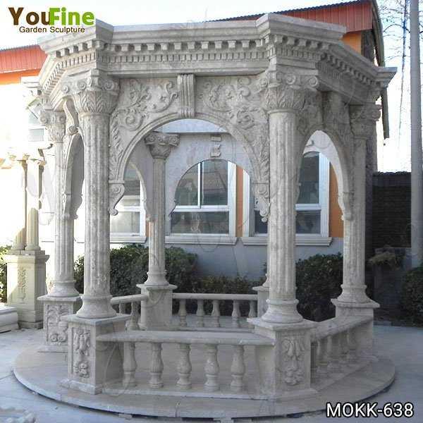 Classic Roman Style Beige Marble Column Gazebo Supplier MOKK-638