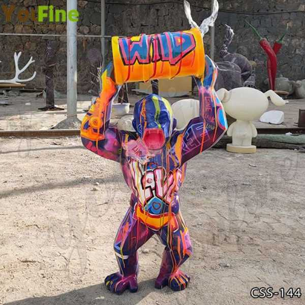 Colorful King Kong Stainless Steel Sculpture for Sale