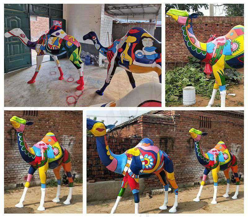 Colorful Life Size Camel Sculpture