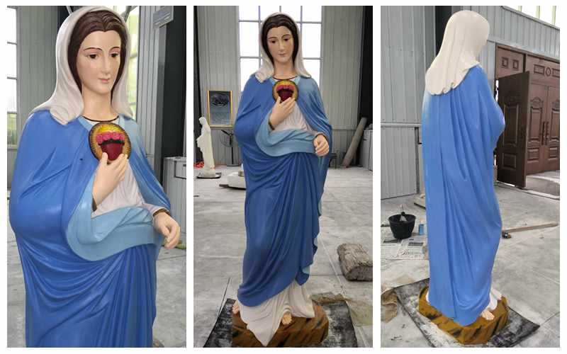 Colorful Painted Blessed Mother Mary Prayer Marble Statue