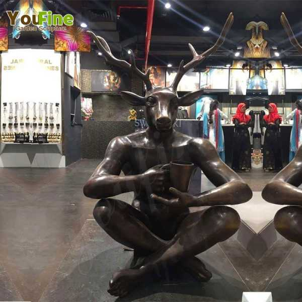 Custom Made Bronze Mr. Deer Sculpture for Our Customer