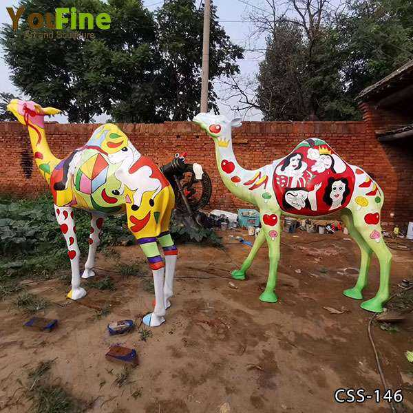 Custom Made Colorful Life Size Camel Sculpture for Sale