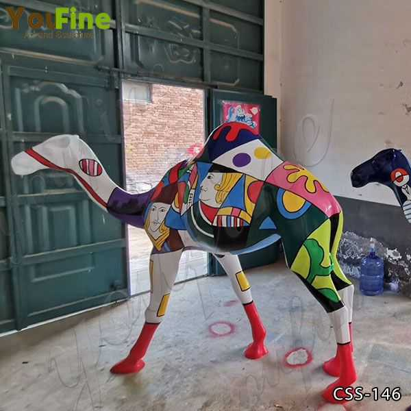 Custom Made Colorful Life Size Camel Sculpture
