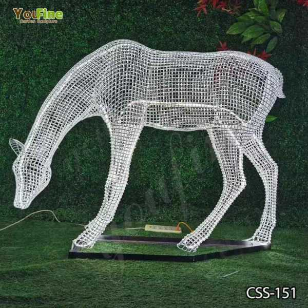 Deer Sculpture Made of Stainless Steel Wire for Sale