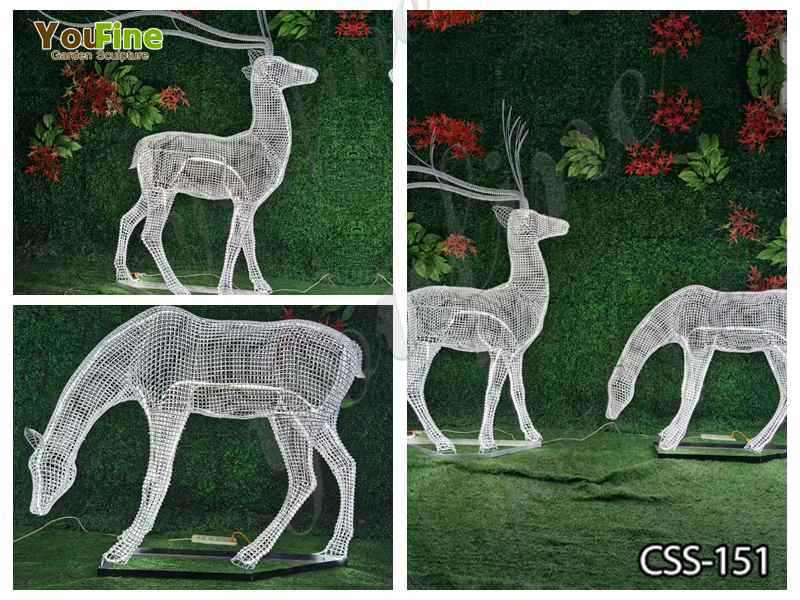 Deer Sculpture Made of Stainless Steel Wire