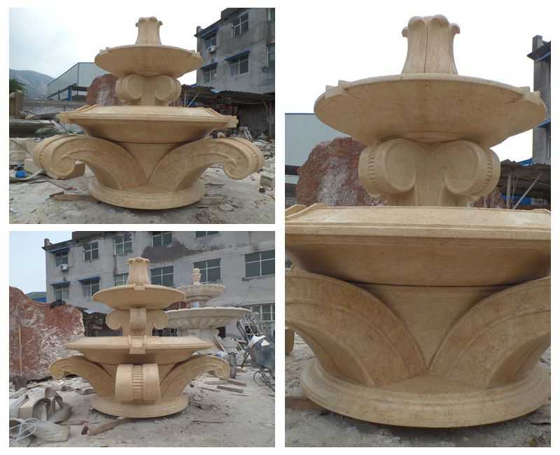Full Size Beige Marble Tiered Water Fountain Supplier