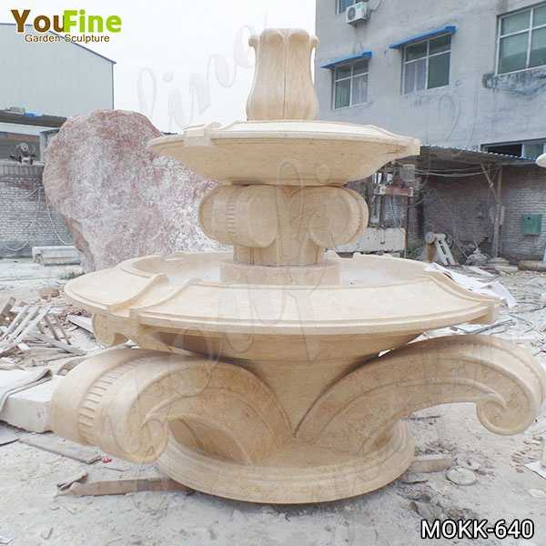 Full Size Beige Marble Tiered Water Fountain