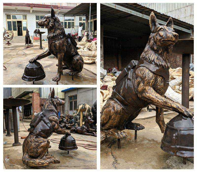 Full Size Solid Bronze Military Dog Sculpture for Sale