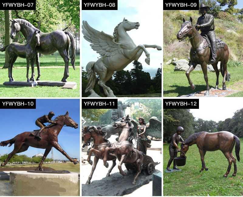 Garden bronze horse sculptures