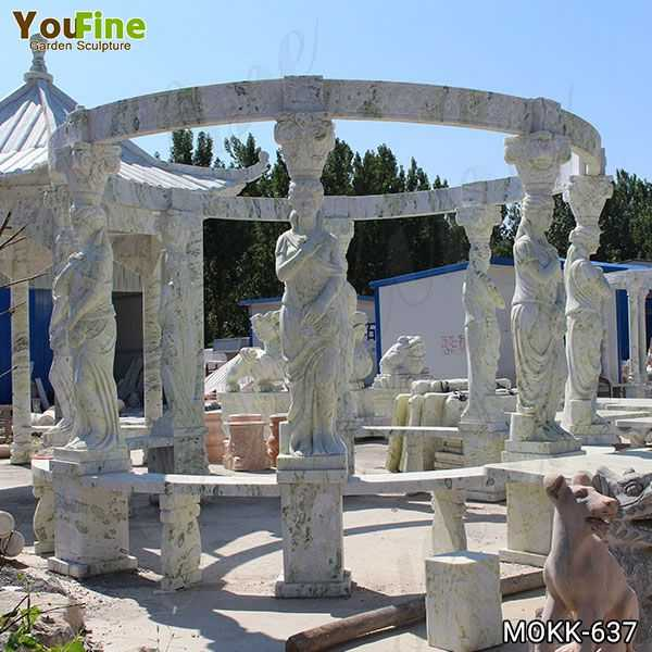 New Design Outdoor Green Marble Statuary Gazebo for Sale MOKK-637