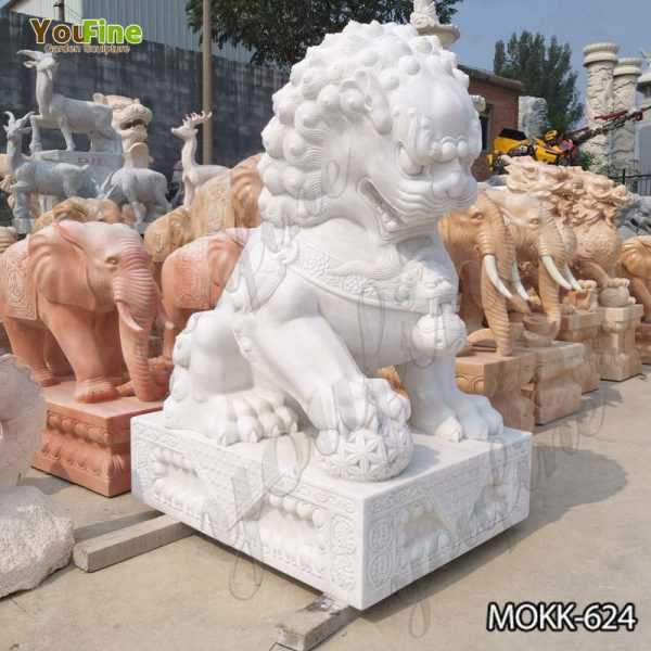 Guardian Chinese Lion Marble Statue
