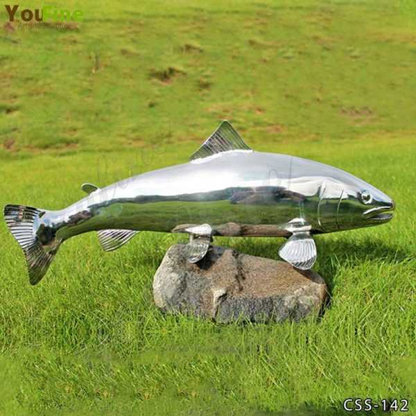 High Polished Metal Fish Sculpture for Sale