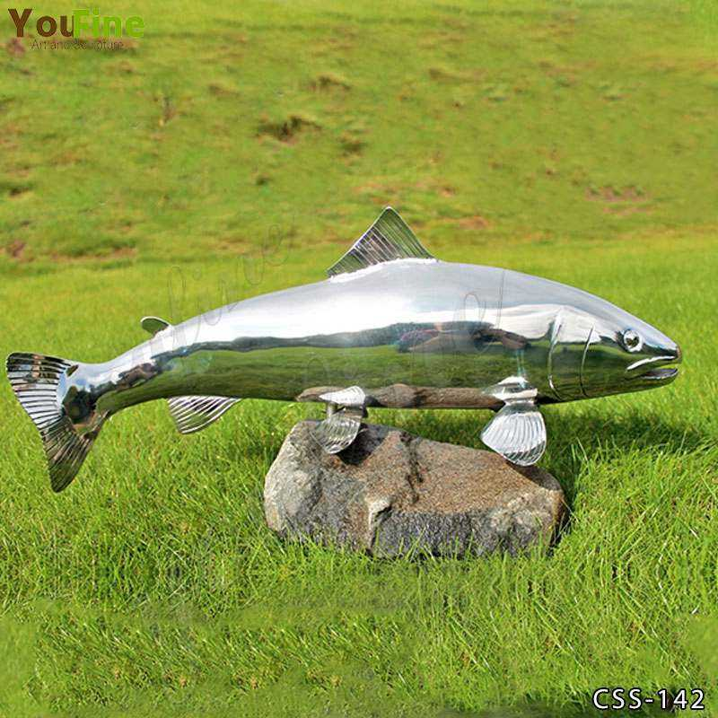 Outdoor High Polished Metal Fish Sculpture for Sale CSS-142