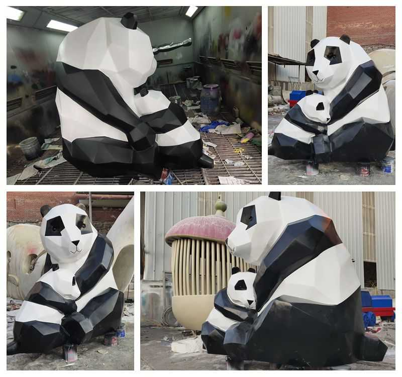 Large Abstract Stainless Steel Panda Sculpture for Sale