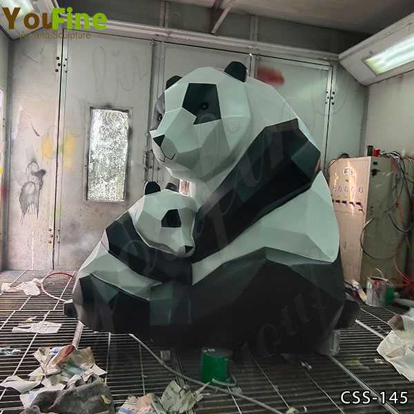 Large Abstract Stainless Steel Panda Sculpture