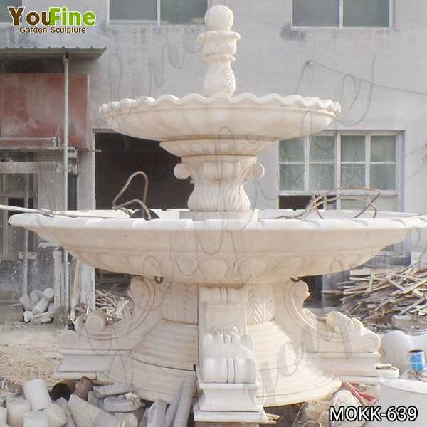 Large Beige Marble Two Tiered Fountain