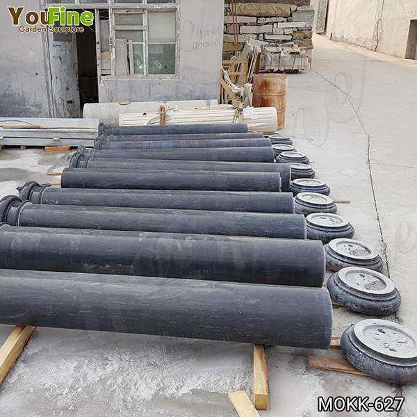 Large Charcoal Solid Marble Column Pedestal Supplier