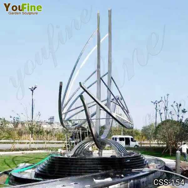 Large Modern Abstract Metal Sailboat Sculpture Fountain