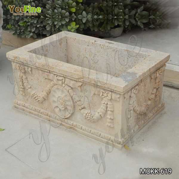 Large Modern Rectangle Beige Marble Planter