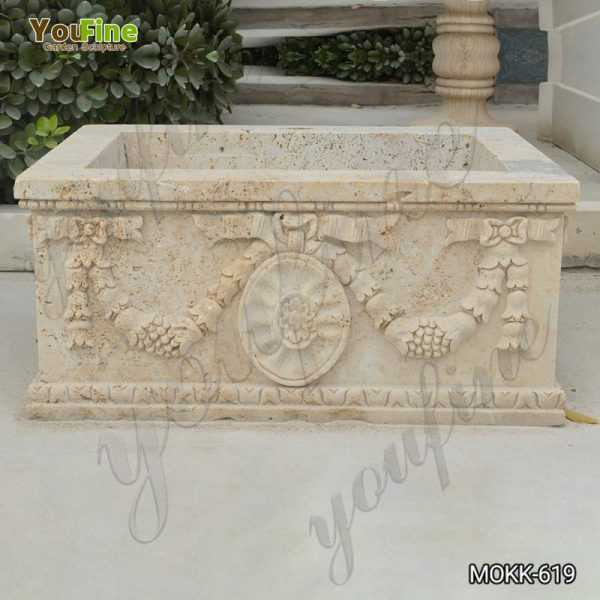 Large Modern Rectangle Beige Marble Planter for Sale