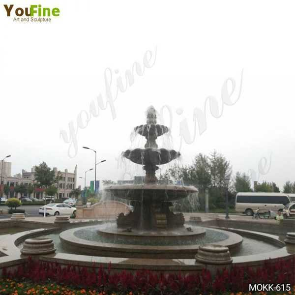 Large Three Tiered Granite Water Fountain for Sale