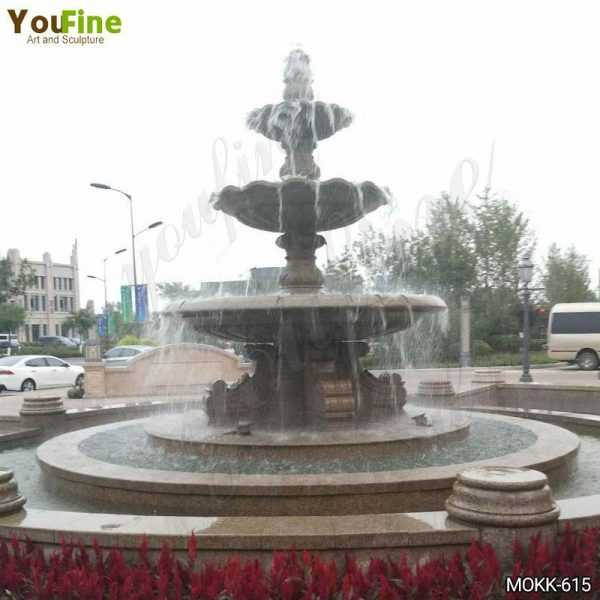 Large Three Tiered Granite Water Fountain for Sale MOKK-618