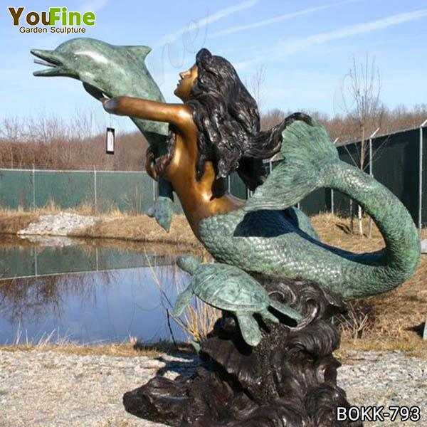 Life Size Bronze Mermaid with Dolphin Fountain BOKK-793