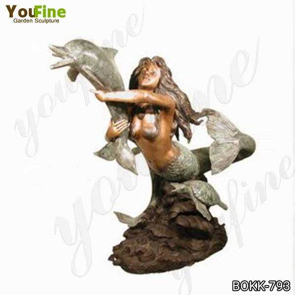 Life Size Bronze Mermaid with Dolphin Fountain