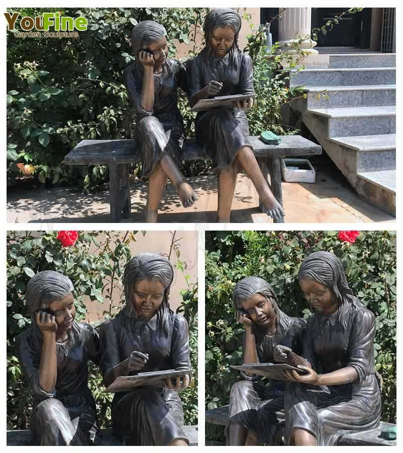Lovely Bronze Sisters Reading Sculpture