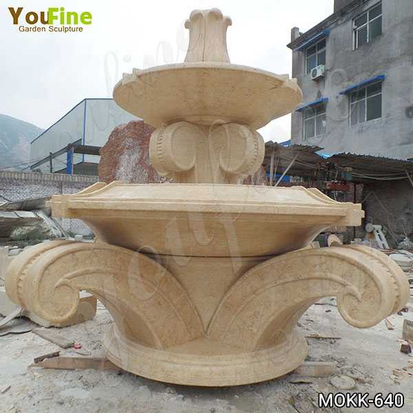 Full Size Beige Marble Tiered Water Fountain Supplier MOKK-640