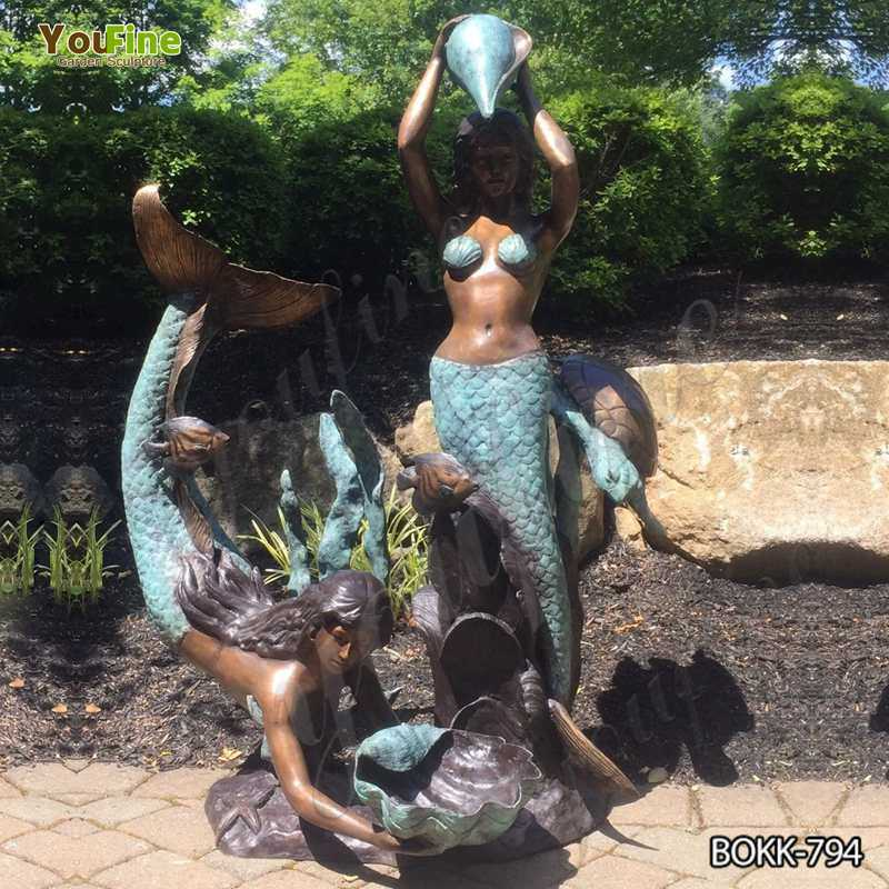 Outdoor Two Mermaids Holding Shell Bronze Fountain for Sale BOKK-794