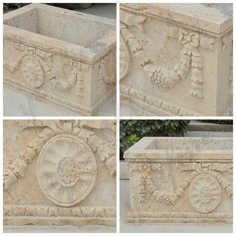 Modern Rectangle Beige Marble Planter for Sale_