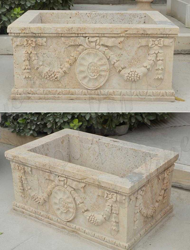 Modern Rectangle Beige Marble Planter_