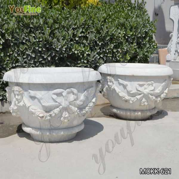 Modern White Marble Flower Pot with Big Basin on Sale