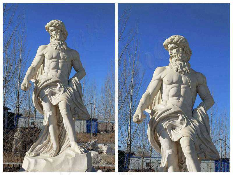 Neptune Beige Marble Statue Classic God of the Sea