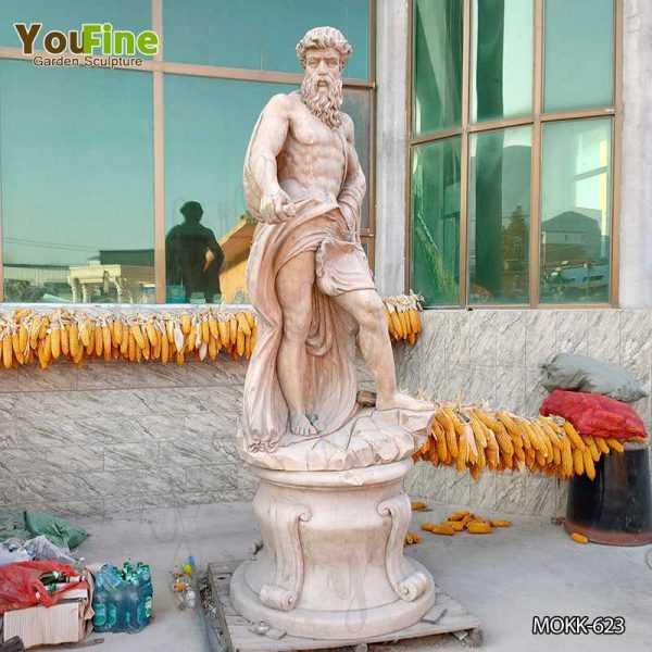 Neptune Beige Marble Statue Classic Roman God of the Sea