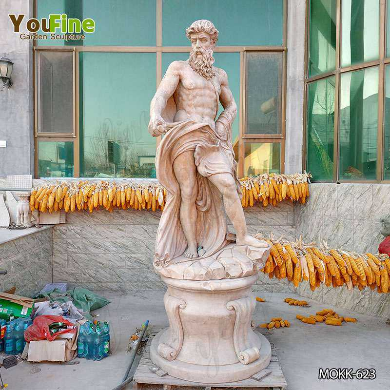 Neptune Beige Marble Statue Classic Roman God of the Sea MOKK-623